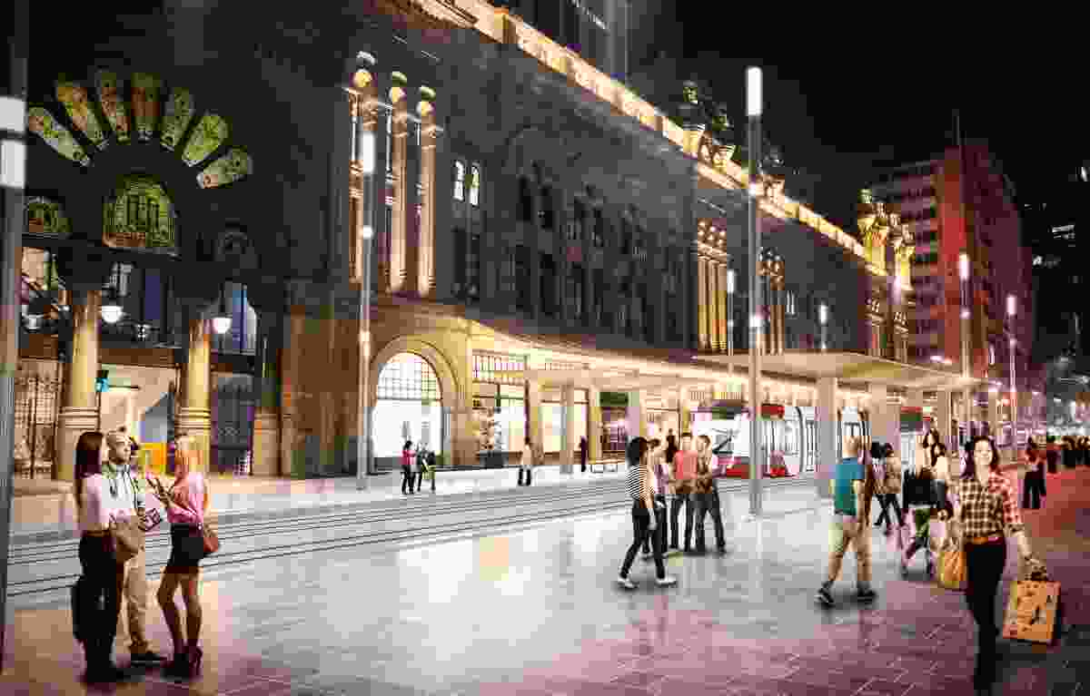 Design of the Sydney CBD and South East Light Rail stop at QVB by Grimshaw Architects.