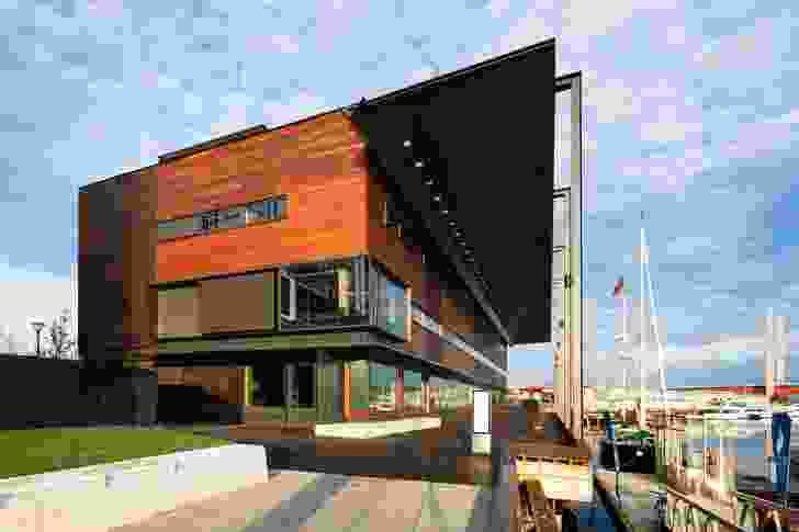 A key structure in the still-developing Victoria Harbour in Docklands, Melbourne, the Library at the Dock is conceived as a small, community-based building.