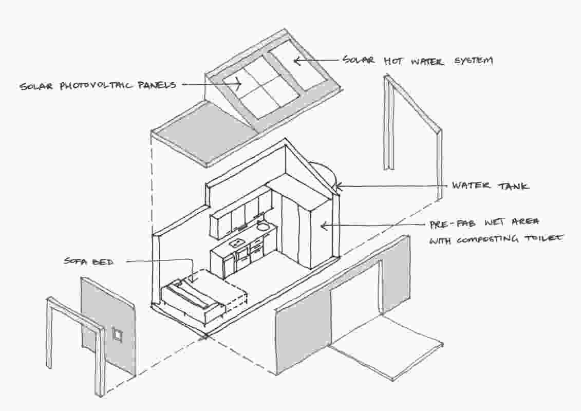 Exploded axonometric drawing of a tiny home designed by NBRS Architecture.