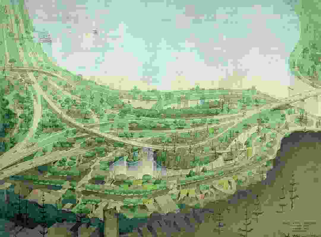 Landscape architect John Oldham's painting Overall Plan, 1966, depicts his bold proposal for a botanic garden which would have seen Perth's waterfront rendered as an urban forest.