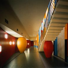 Colourful forms in the interior of the Science and Health Building at Edith Cowan University's Joondalup campus. Image: Patrick Bingham-Hall