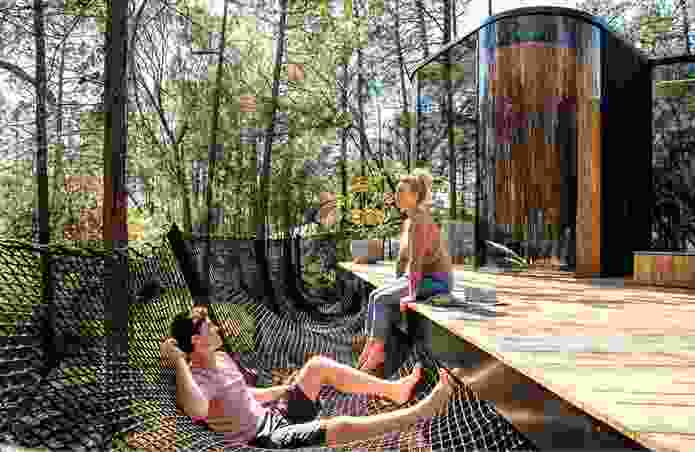 Netting offers an alternative to obstructive balustrades, providing a hammock-like space from which to enjoy the landscape.