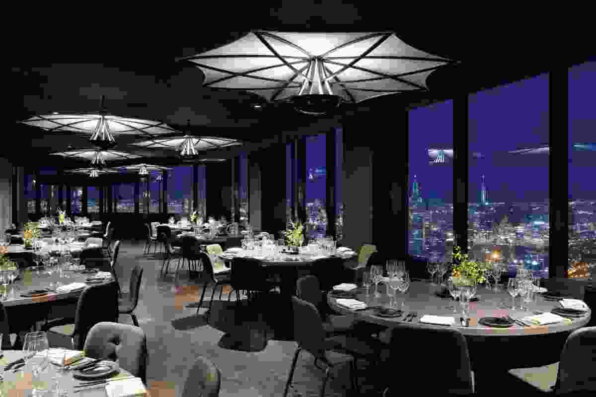 The restaurant's location at level 55 of the Rialto means stunning views.