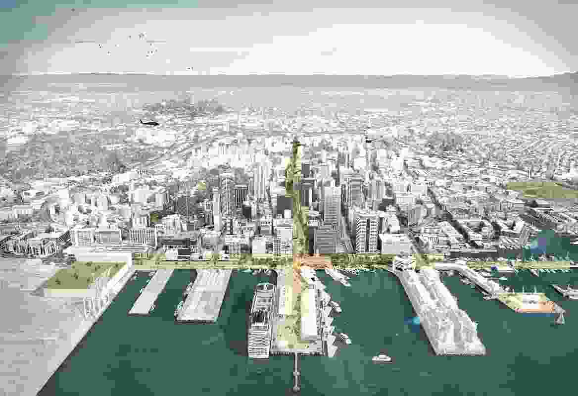 Landlab's proposal for the Quay Street Waterfront Promenade in downtown Auckland.