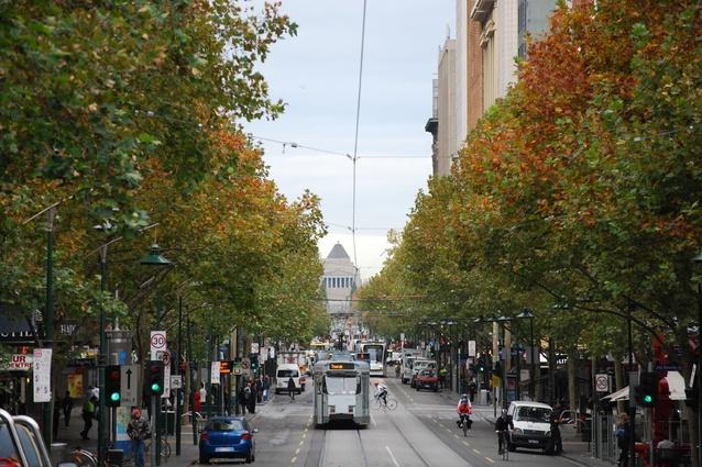 "<a href=""https://www.flickr.com/photos/avlxyz/3528442792/"">Swanston Street, Melbourne</a>."