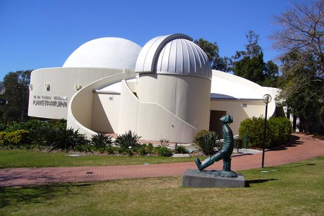 A statue of Konstantin Eduardovich Tsiolkovsky, the Russian and Soviet rocket scientist, outside of the Sir Thomas Brisbane Planetarium