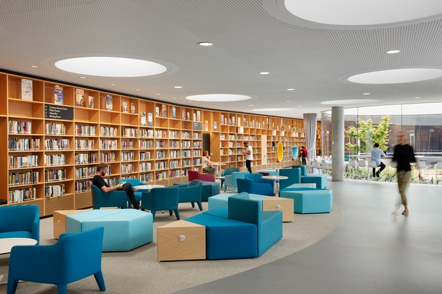 Green Square Library and Plaza by Stewart Hollenstein in association with Stewart Architecture is sunken into the ground with a series of circular skylights to provide natural light.