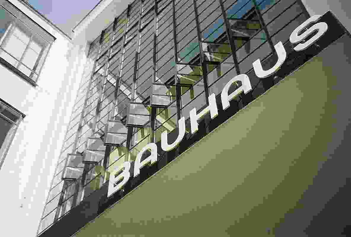 Herbert Bayer-design sign for the Bauhaus in Dessau.