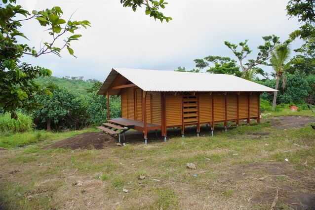 A Nev House, designed by Ken McBryde, for remote communities on cyclone-ravaged Tanna Island in Vanuatu.