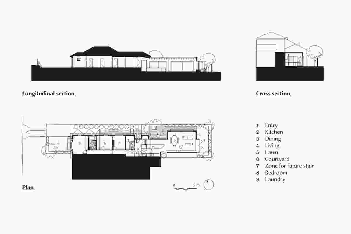 Plan and sections of Maroubra House by Those Architects.