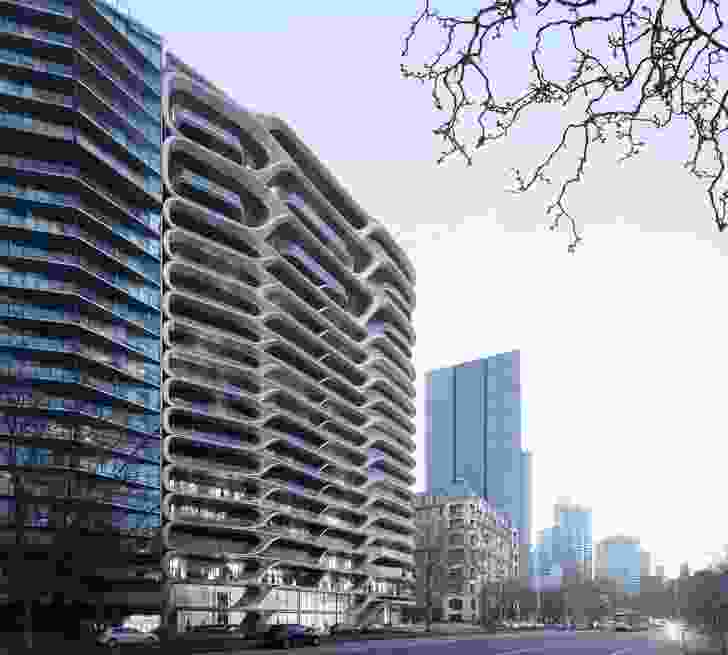 The Mayfair apartment development by Zaha Hadid Architects will replace the former Victoria Police headquarters on St Kilda Road.