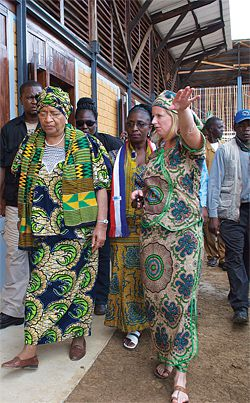Finley Pitt (right) at the school with the President of Liberia, Ellen Johnson Sirleaf.