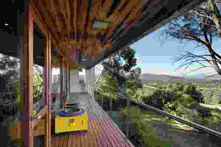 The house commands sweeping views over the Tuggeranong Valley and Brindabella mountain range.