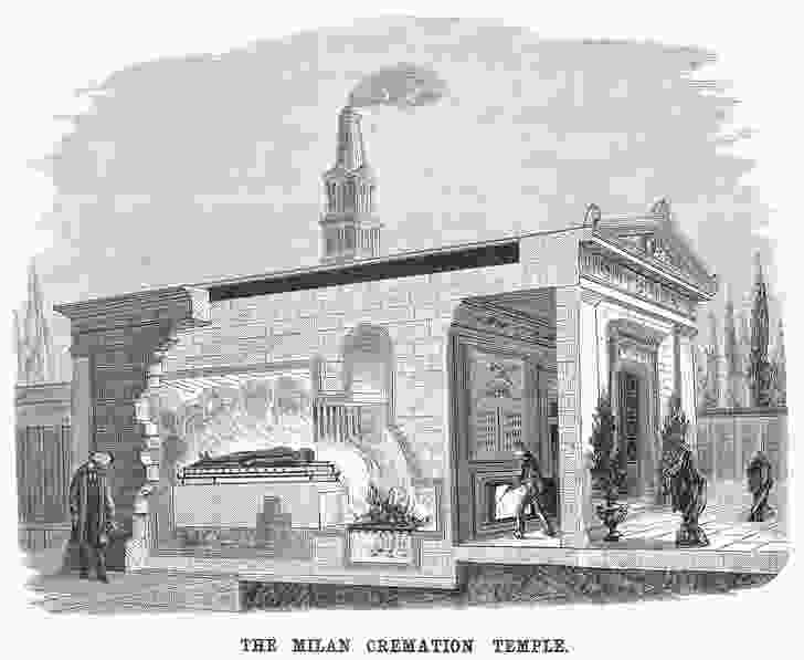An American wood engraving of The Crematorium at Milan, Italy (1881). The crematorium was designed by Carlo Maciachini and opened in 1876.