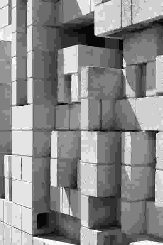 A detail photography of Iwanoff's characteristic use of concrete blocks at Murphy House.