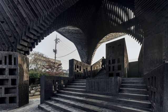 The River Reading Room on the banks of the River Gwangju in South Korea, designed by Adjaye Architects.