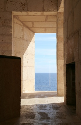 Framed views out to the Mediterranean Sea.