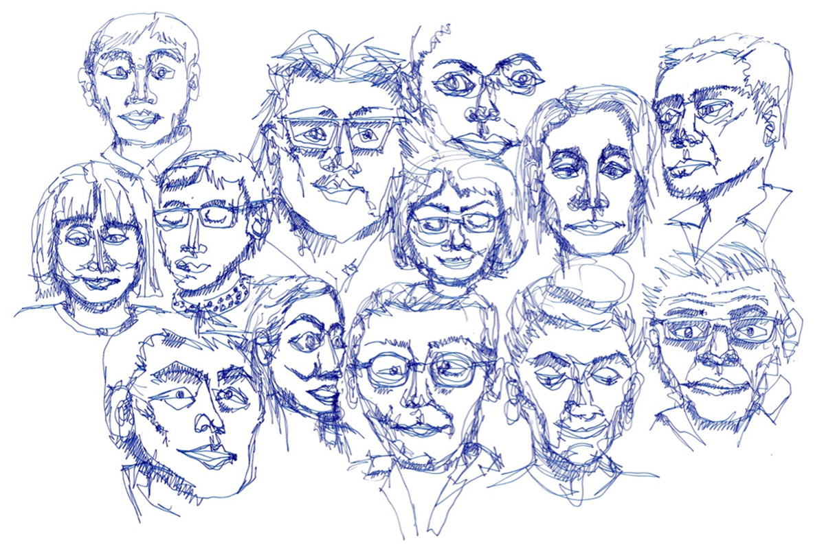 Sketch portraits of The Architecture Symposium speakers.