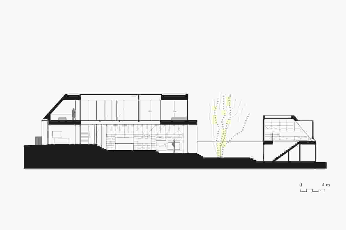 Section of Two Wall House by Woods Bagot.