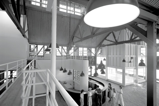 The 1984 adaptation of the original timber cargo wharf buildings for Sydney Theatre Company by Vivian Fraser in association with the NSW Government Architect.