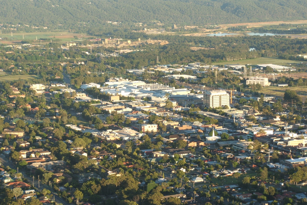 Aerial photograph of the Penrith CBD.