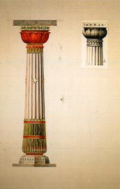 Waratah column, two types of capitals, watercolour by Lucien Henry.