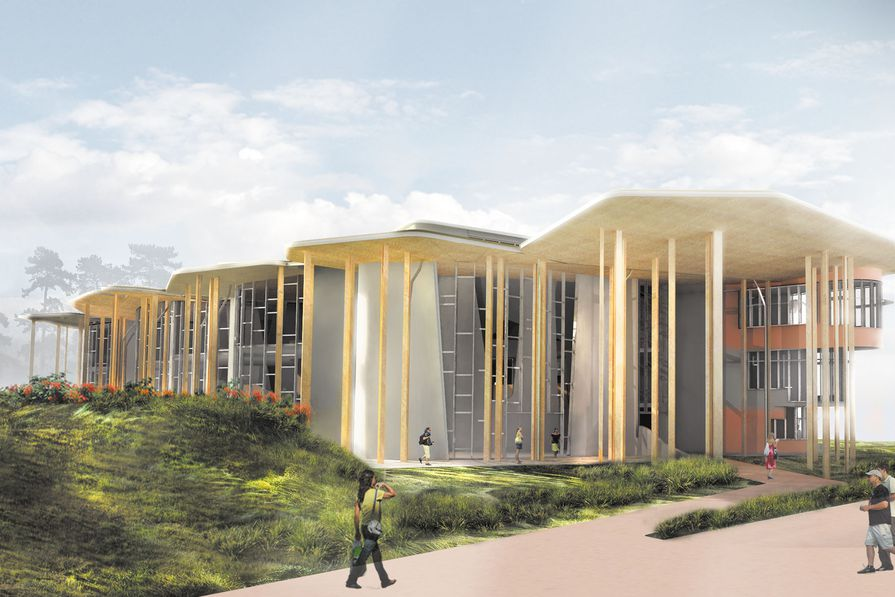 Render of the entrance to Soheil Abedian School of Architecture, Bond University.