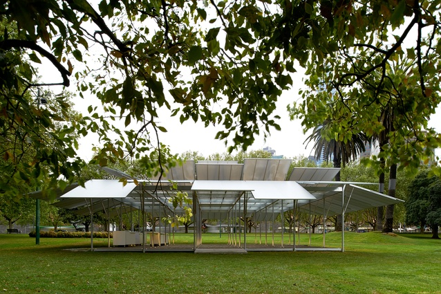 MPavilion 2014 in Melbourne, designed by Sean Godsell Architects.