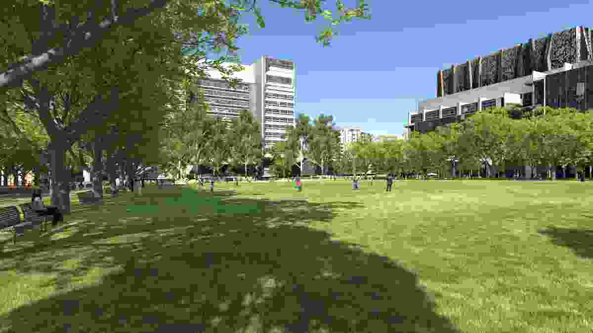 A green lawn in the proposed University Square redevelopment.