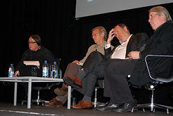 "Globalization Panel Presentation, Jennifer Taylor, Lawrence Nield, Leon van Schaik and John Denton, the ""biggest and best slugfest of the conference""."