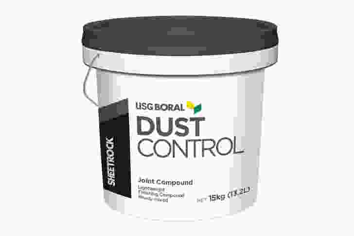 The USG Boral Sheetrock Dust Control joint compound system.