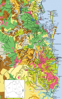 Adapted map of Yugambeh-Bundjalung cultural landscapes on the Gold Coast, south-east Queensland and northern New South Wales.