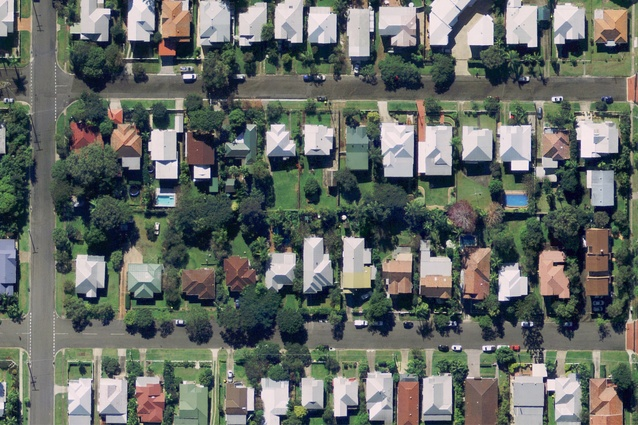 Camp Hill, Brisbane, Queensland – aerial view showing large backyards and tree cover. It was subdivided in 1945–47 into 600 m2 lots.