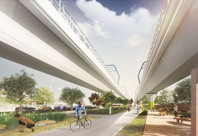 """A linear park designed by Aspect Studios would be created underneath an elevated section of the proposed """"sky rail."""""""