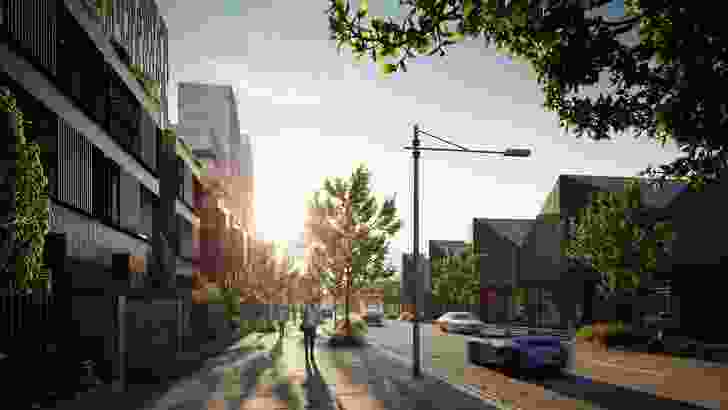 A proposed streetscape of the Collins Wharf development.