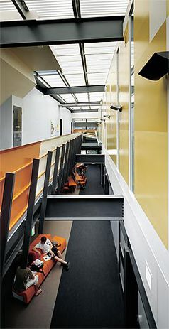 Looking along the length of the central