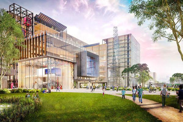 由Grimshaw设计的墨尔本大学fishmans Bend校园的初步概念渲染。