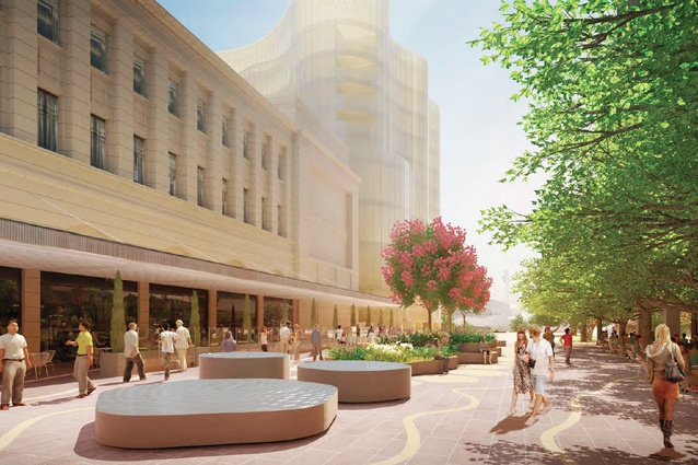 Tree-lined Station Road in the proposed redevelopment of Adelaide Festival Plaza designed by ARM Architecture and Taylor Cullity Lethlean.