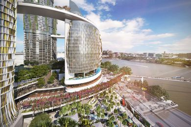 The proposed Queens Wharf Brisbane casino resort masterplanned by Jerde Partnership.