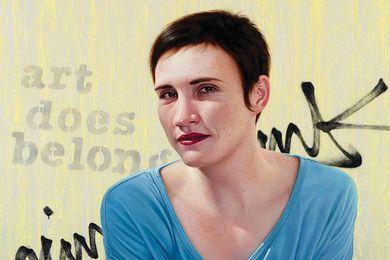 Portrait of Fenella Kernebone, Art does  belong by Nick Stathopoulos, finalist in the 2012 Archibald Prize.