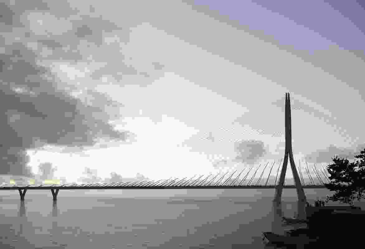 The winning design for the Danjiang Bridge in Taipei, Taiwan by Zaha Hadid Architects in collaboration with Leonhardt, Andrä & Partner and Sinotech Engineering Consultants.