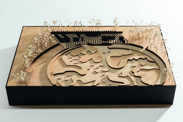 A model of the Southern Highlands Botanic Gardens visitor centre by John Wardle Architects.
