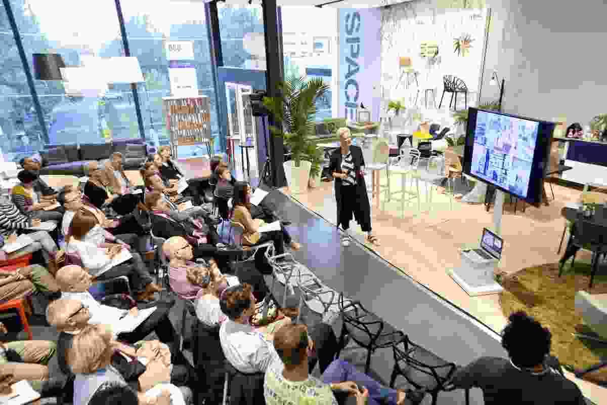 Geraldine Maher presenting at Artichoke Night School No. 13, Space showroom, Melbourne.