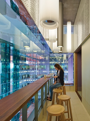Each floor contains write-up spaces that utilize natural light from the atrium.