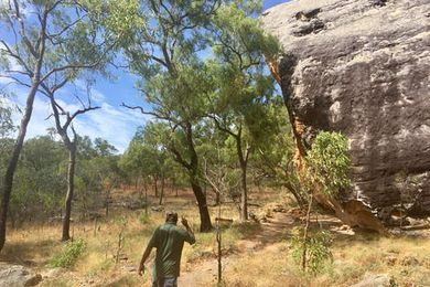 Ranger Trevor Bramwell on the walk up to the Split Rock art galleries in Cape York's Quinkan Country in 2017.