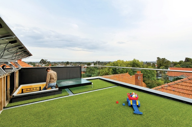 Astroturf doubles as a thermal blanket, moderating the heat gain on the black butanol roof.