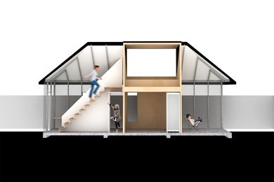 The one-hundred-square-metre house is designed to accommodate various configurations, including a small family, an intergenerational household and an Airbnb host and guest.