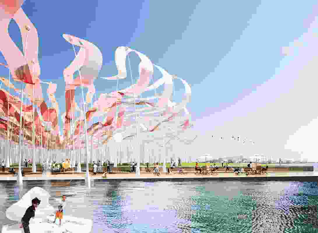 Beyond the Wave by Heerim Architects and Planners, a submission to LAGI 2014 Copenhagen. Energy technologies: organic thin film. Annual capacity: 4,229 MWh.