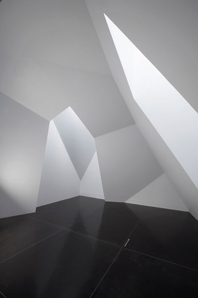 Stephen Bram's faceted white space in the ground floor, south gallery of the Ian Potter Museum of Art.