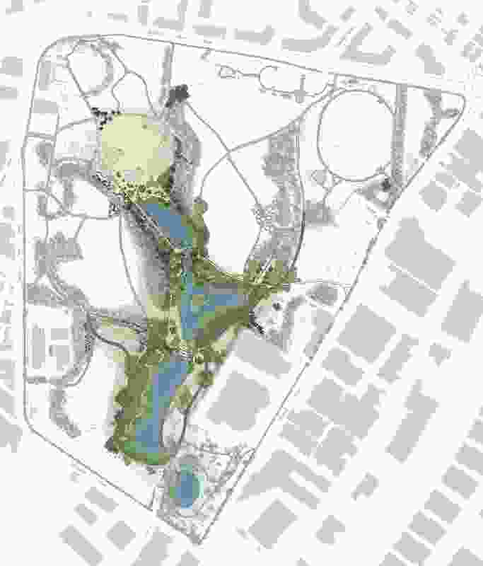 Sydney Park Water Re-Use Project by Turf Design Studio and Environmental Partnership with Alluvium, Turpin + Crawford Studio and Dragonfly Environmental.